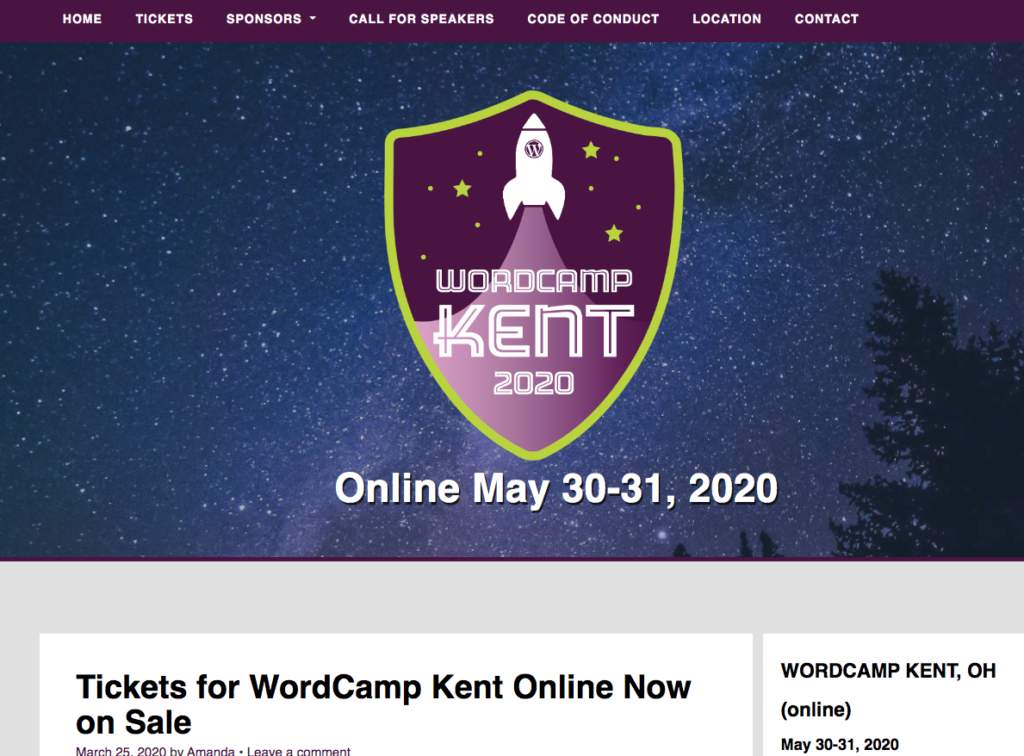 Screen shot of the WordCamp Kent 2020 home page