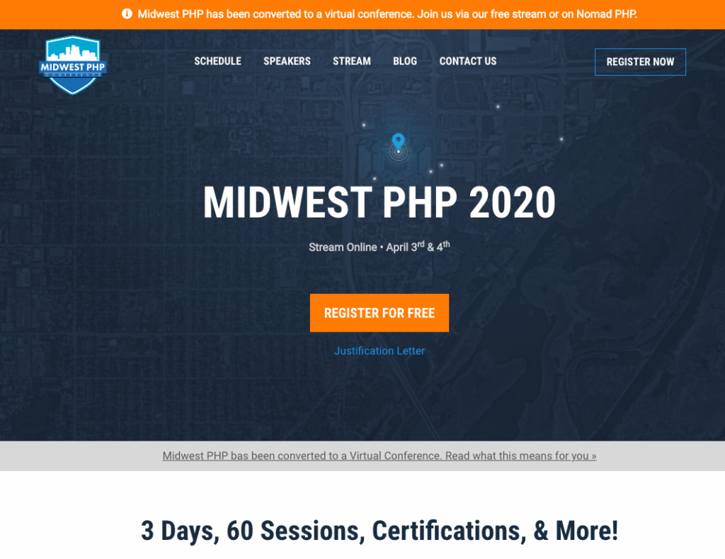 Screen shot of the Midwest PHP 2020 home page