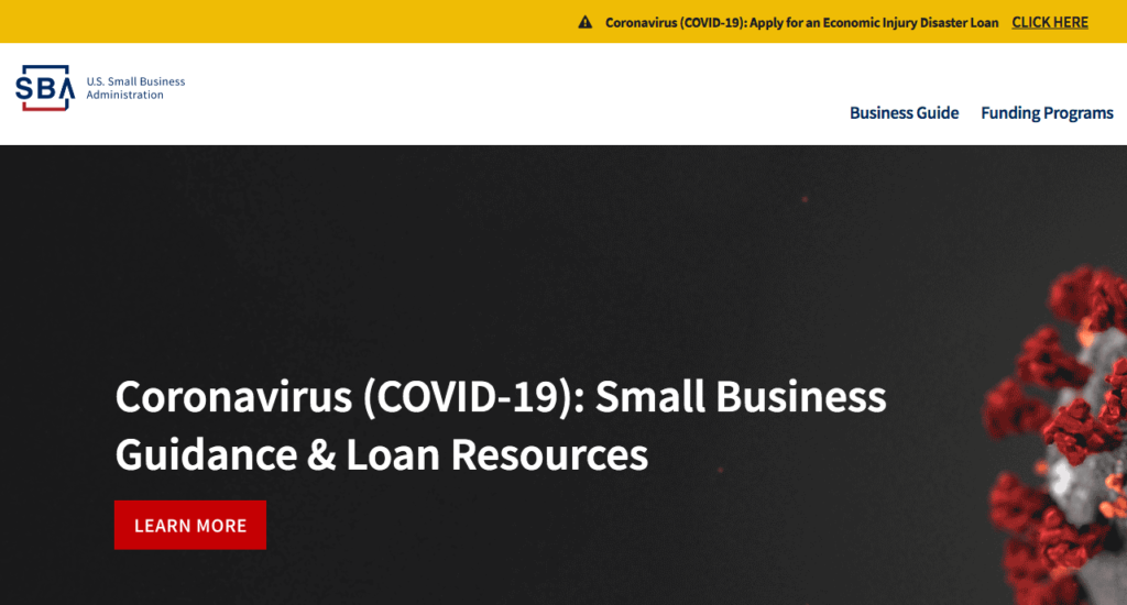 Screen shot of the U.S. Small Business Administration home page