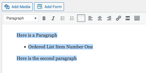the classic editor makes turning paragraphs and ordered lists into quotes much easier